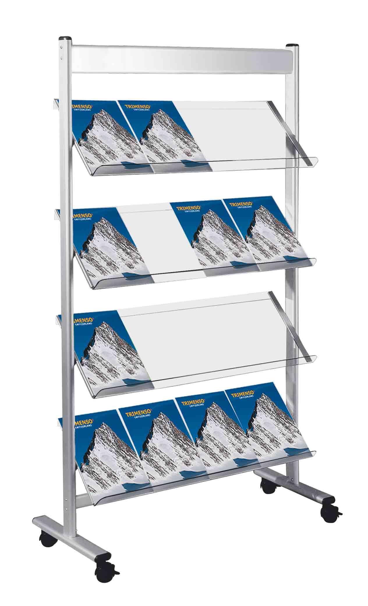 Prospektregal 16 x A4 fahrbar mit arretierbaren Gelenkrollen. Prospektfachboden acryl transparent.