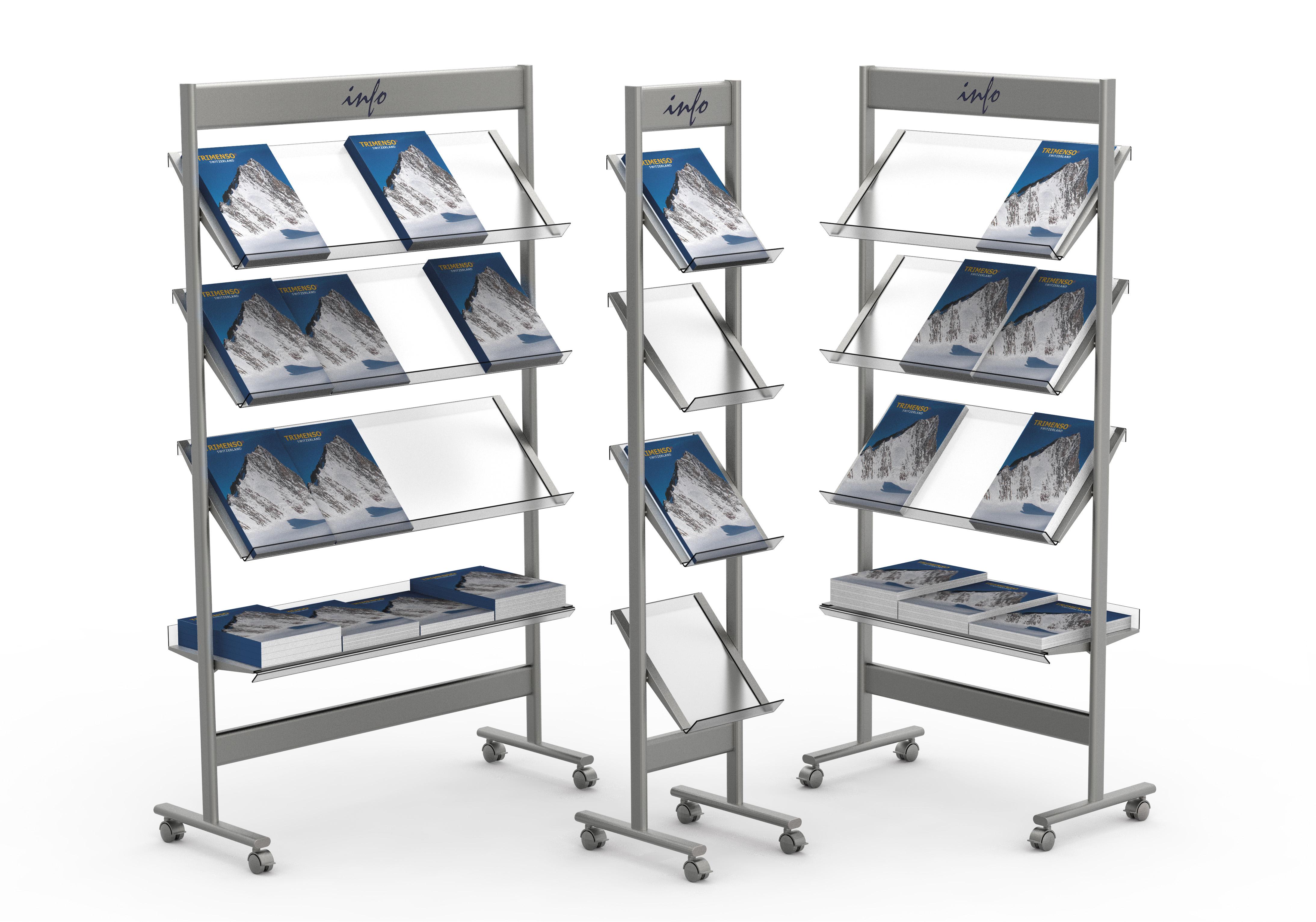 Prospektregale und Prospektständer metall fahrbar mit arretierbaren Rollen. Prospektfachboden geneigt.